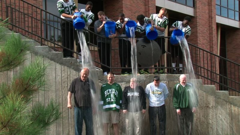 Pictured above: Former BSU President Richard Hanson and his staff accepted the ice bucket challenge in August 2014.