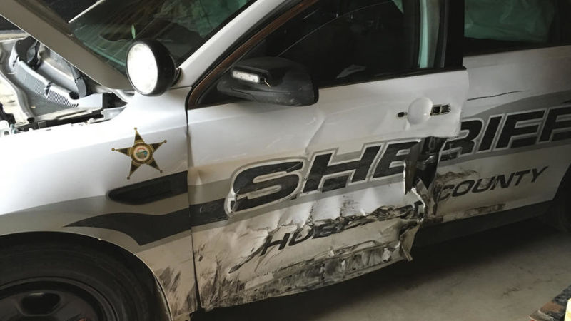 A Hubbard County Sheriff's Office patrol car is shown here with damage from a high speed chase which started on Highway 34 east of Park Rapids and ended with one man arrested in Walker. Photo credit: Park Rapids Enterprise