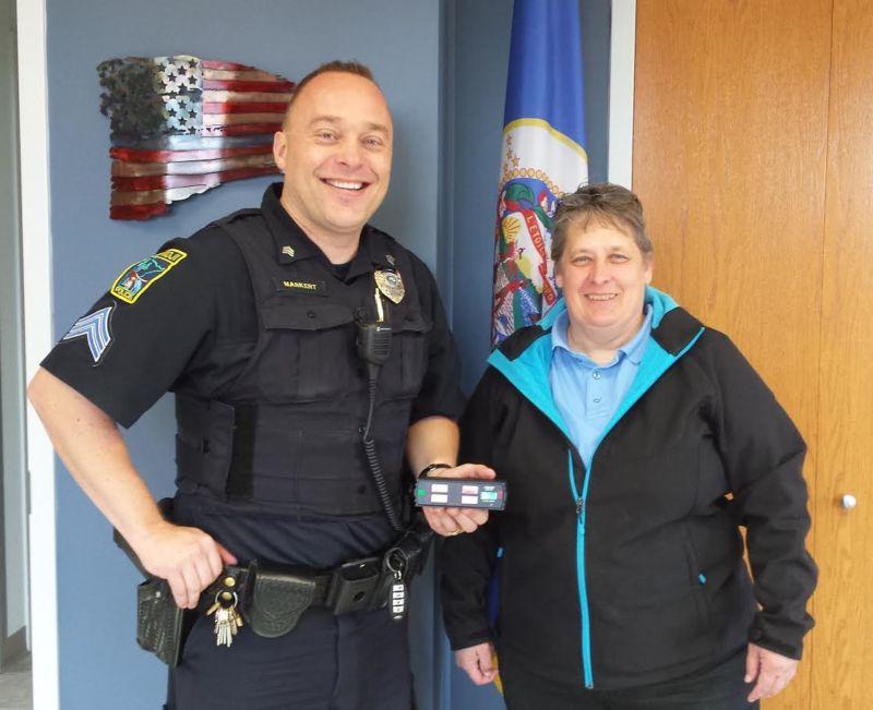 2016 Enforcement Recognition Award recipient Sergeant Dave Markert, with Becky Putzke, Northwest MN law enforcement liaison.